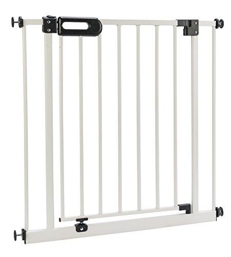 BOMI Kindertreppen Gitter 63-251 | Ohne Bohren | 90° Stop | Schließt automatisch | Baby Gitter weiss mit Automatik-Tür | Kindertreppenschutzgitter Tür und Treppenschutzgitter zum Klemmen
