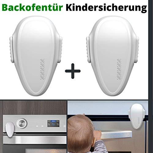 Backofentür Kindersicherung, 2 Pack, Ofentür Sperre zum Kleben, Spezial 3M Hitze-resistenter Kleber, Doppel-Druck-Knopf, rückstandslos entfernbar, Sicherung Ofen Tür, Backofen Baby Sicherung, in weiß